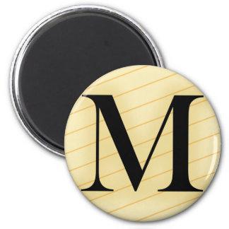 Letra del monograma - M (naranja) Imán Redondo 5 Cm