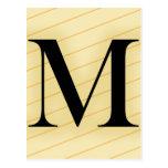 Letra del monograma - M (naranja) Postal