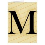 Letra del monograma - M (naranja) Tarjetón