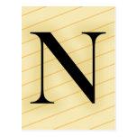 Letra del monograma - N (naranja) Postal