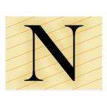 Letra del monograma - N (naranja) Postales