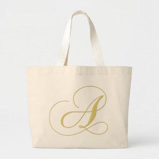 Letra del monograma que un de oro escoge bolsa tela grande