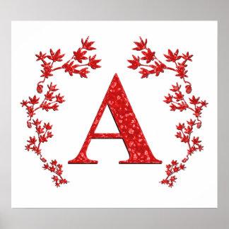 Letra del monograma que un rojo deja posters