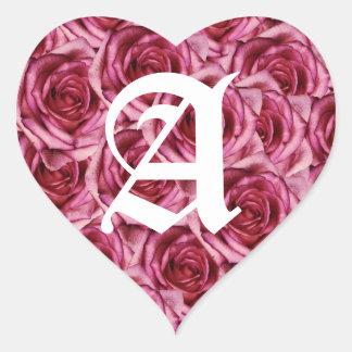 Letra del monograma un pegatina rosado de los