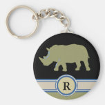 letra del rinoceronte R Llavero Redondo Tipo Pin