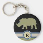 letra del rinoceronte R Llaveros