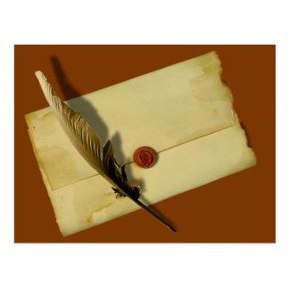 Letra del vintage y pluma de canilla postal