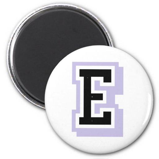 letra E de la lavanda Imán Redondo 5 Cm
