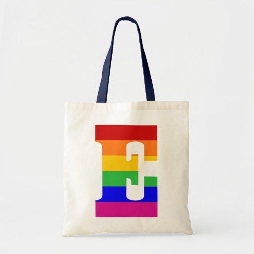 Letra E del arco iris Bolsa Tela Barata