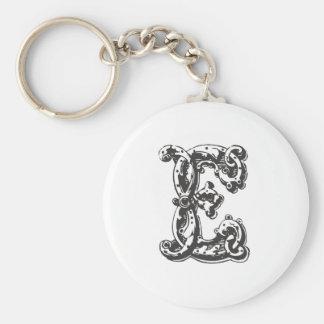 Letra E del monograma Llavero Redondo Tipo Pin