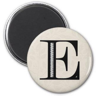 Letra E - negro del damasco Iman De Nevera