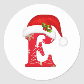 Letra E, pegatina del monograma del navidad del