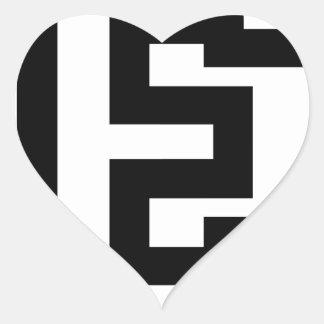 Letra E Pegatina En Forma De Corazón