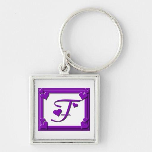 Letra enmarcada púrpura F del monograma de los cor Llaveros Personalizados