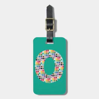 Letra enorme O - modelo cuadrado colorido del Etiquetas Para Maletas