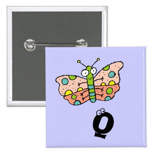 Letra enrrollada Q del botón del monograma de la m