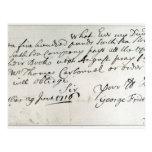 Letra escrita por Handel, junio de 1716 Postales