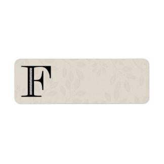 Letra F - negro del damasco Etiquetas De Remite