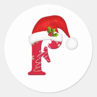 Letra F, pegatina del monograma del navidad del