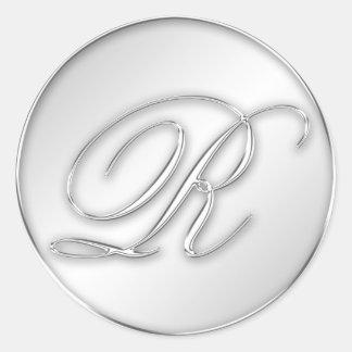 Letra favor de plata del monograma de la inicial d etiquetas