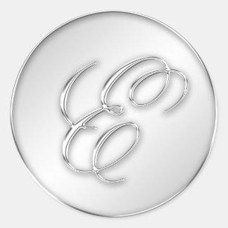 Letra favor de plata del monograma de la inicial d pegatinas