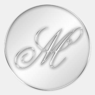 Letra favor de plata del monograma de la inicial pegatinas redondas