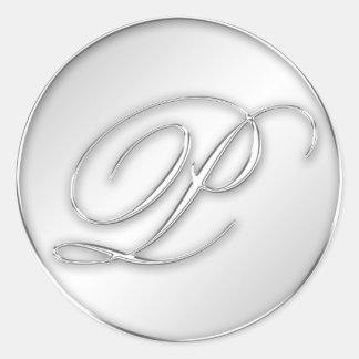 Letra favor de plata del monograma de la inicial pegatina redonda