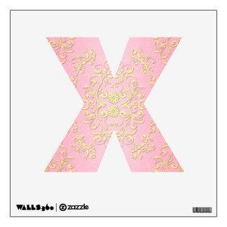 Letra femenina de lujo floral X del damasco del ro Vinilo Adhesivo