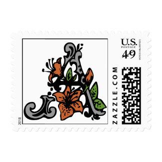 Letra floral del monograma un sello