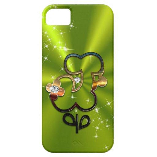Letra floral J del monograma del diamante Funda Para iPhone SE/5/5s