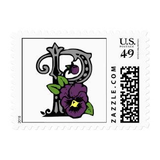 Letra floral P del monograma Sello