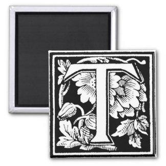 Letra floral T - imán del vintage