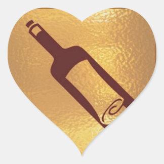 Letra flotante en una botella - correo del vintage pegatina en forma de corazón