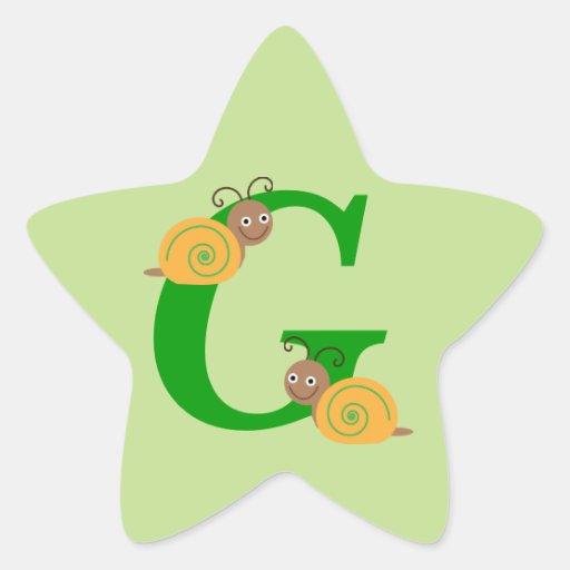 Letra G brian de Monagram los pegatinas de la Pegatina En Forma De Estrella