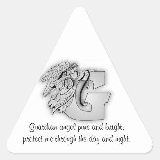 Letra G de ángel de guarda Pegatina Triangular
