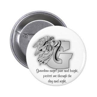 Letra G de ángel de guarda Pin Redondo De 2 Pulgadas