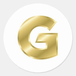Letra G del oro Etiqueta Redonda