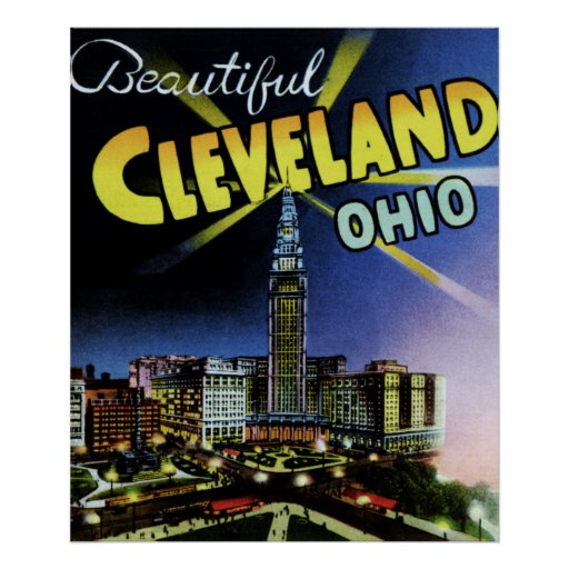 Letra grande de Cleveland Ohio en la noche Póster