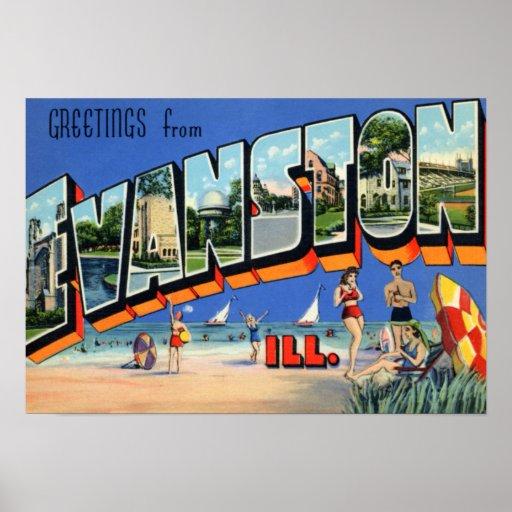 Letra grande de Evanston Illinois Póster