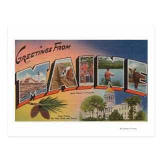 Letra grande de Maine (Capital del Estado/flor) Tarjeta Postal