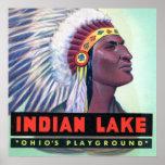 Letra grande del lago indio ohio del punto de Russ Impresiones