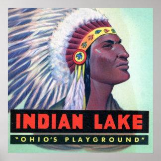 Letra grande del lago indio ohio del punto de Russ Póster