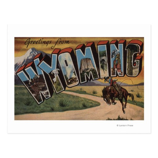 Letra grande ScenesWyoming de Wyoming (vaquero) Tarjetas Postales