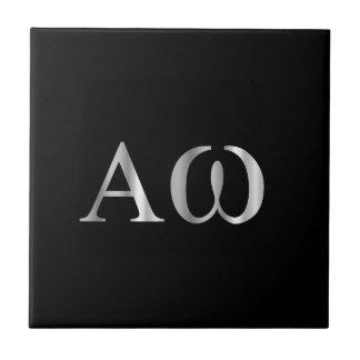 Letra griega alfa y Omega Azulejo Cuadrado Pequeño