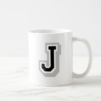 letra gris negra J Taza
