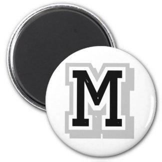 letra gris negra M Imanes De Nevera