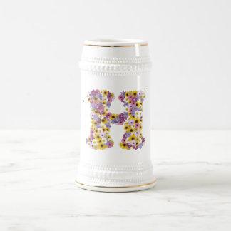 Letra H de la flor Taza De Café