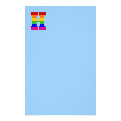 Letra H del arco iris Personalized Stationery