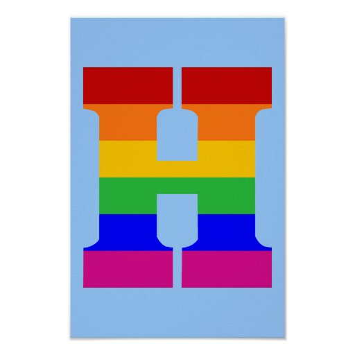 Letra H del arco iris Póster