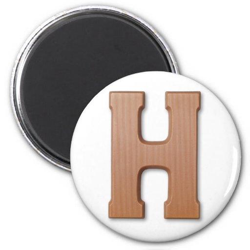 Letra H del chocolate Imán Redondo 5 Cm